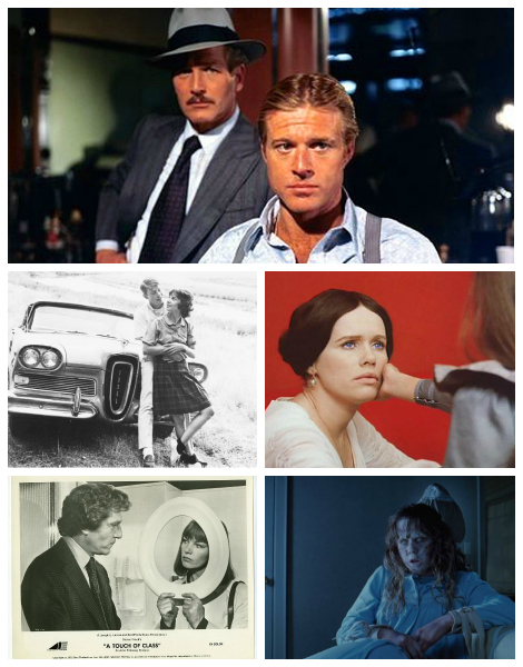 Best Picture 1974, clockwise from top: Winner THE STING; nominees CRIES AND WHISPERS, THE EXORCIST, A TOUCH OF CLASS, and AMERICAN GRAFITTI