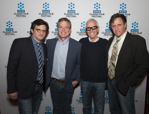 TCM host Ben Mankiewicz with David Zucker, Jim Abrahams and Robert Hays at Saturday's screening of AIRPLANE!