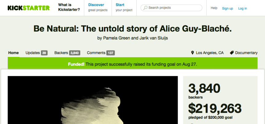 Alice Guy Kickstarter funded
