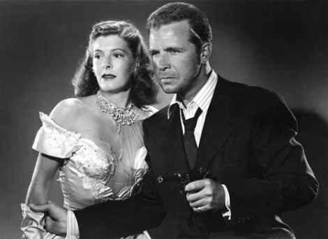 Micheline Cheirel and Dick Powell in CORNERED (1945)