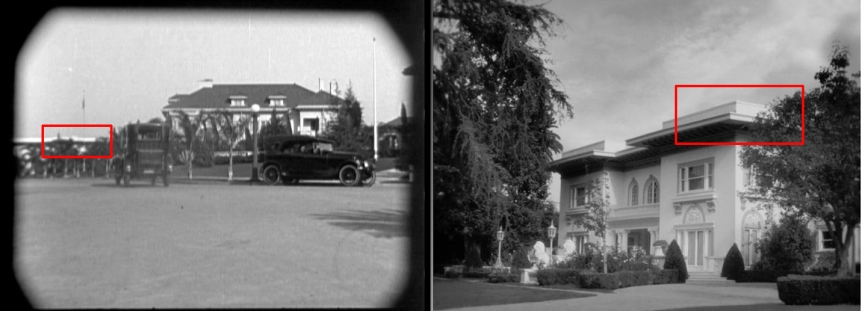 56 Fremont Place was home to Mary Pickford from August 1918 to August 1919. It appears in the background from this scene (above left) appearing in Charlie Chaplin's The Kid, and as the home of Peppy Miller in The Artist (above right). The box marks the same corner of the house in each image.